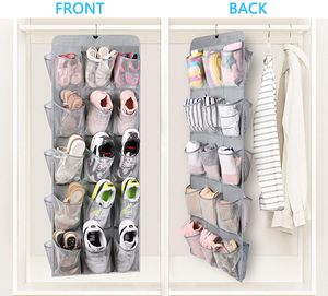 MISSLO 30 Large Pockets Dual Sided Hanging Shoe Organizer for Closet with Rotating Hanger Hanging Shoe Shelves, Grey