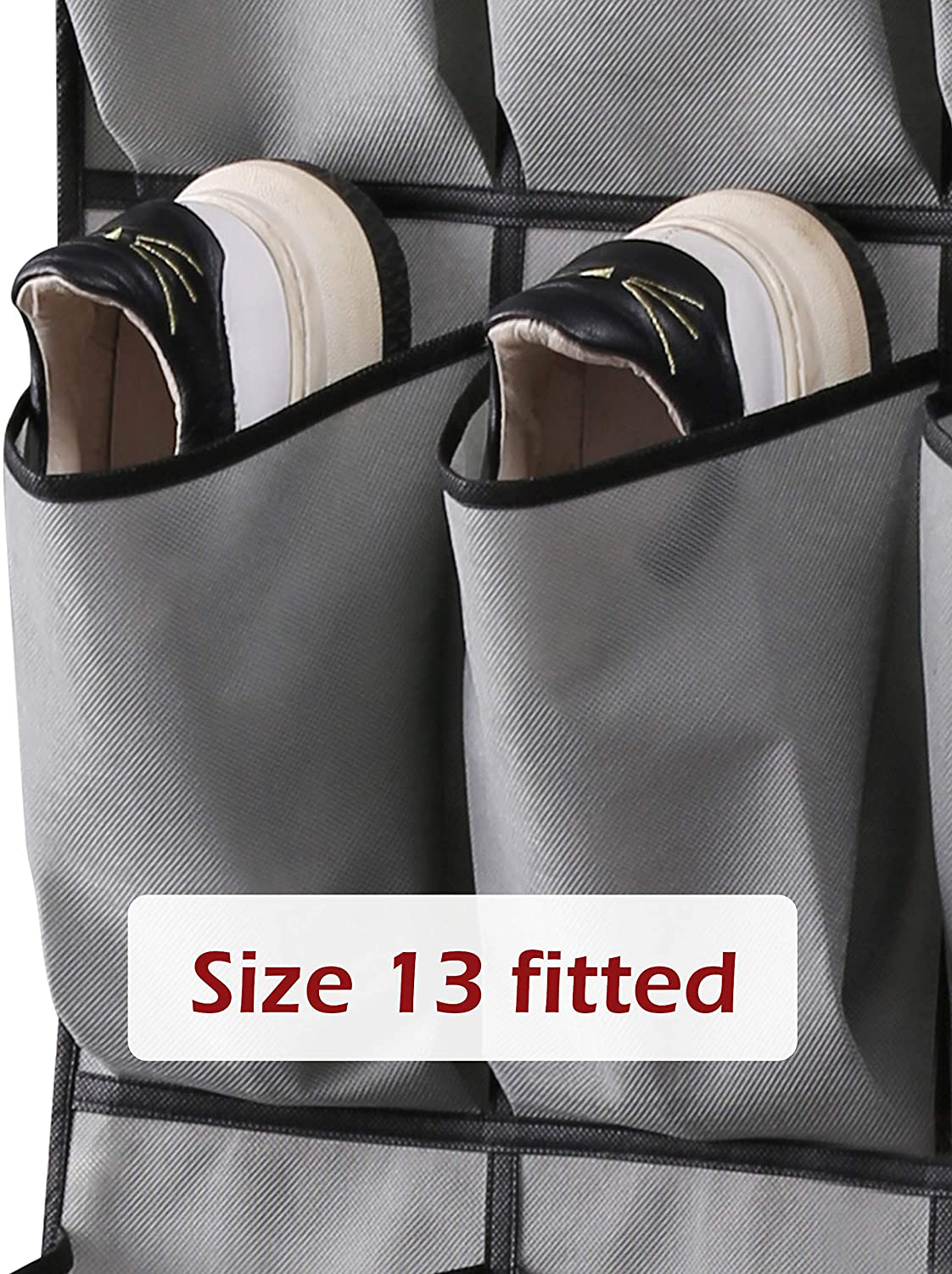KEETDY Hanging Organizer Over The Door Shoe Rack with 24 Large Durable Pocket for Storage Shoe Bag Hanger Organizer for Door 2 Pack, Grey