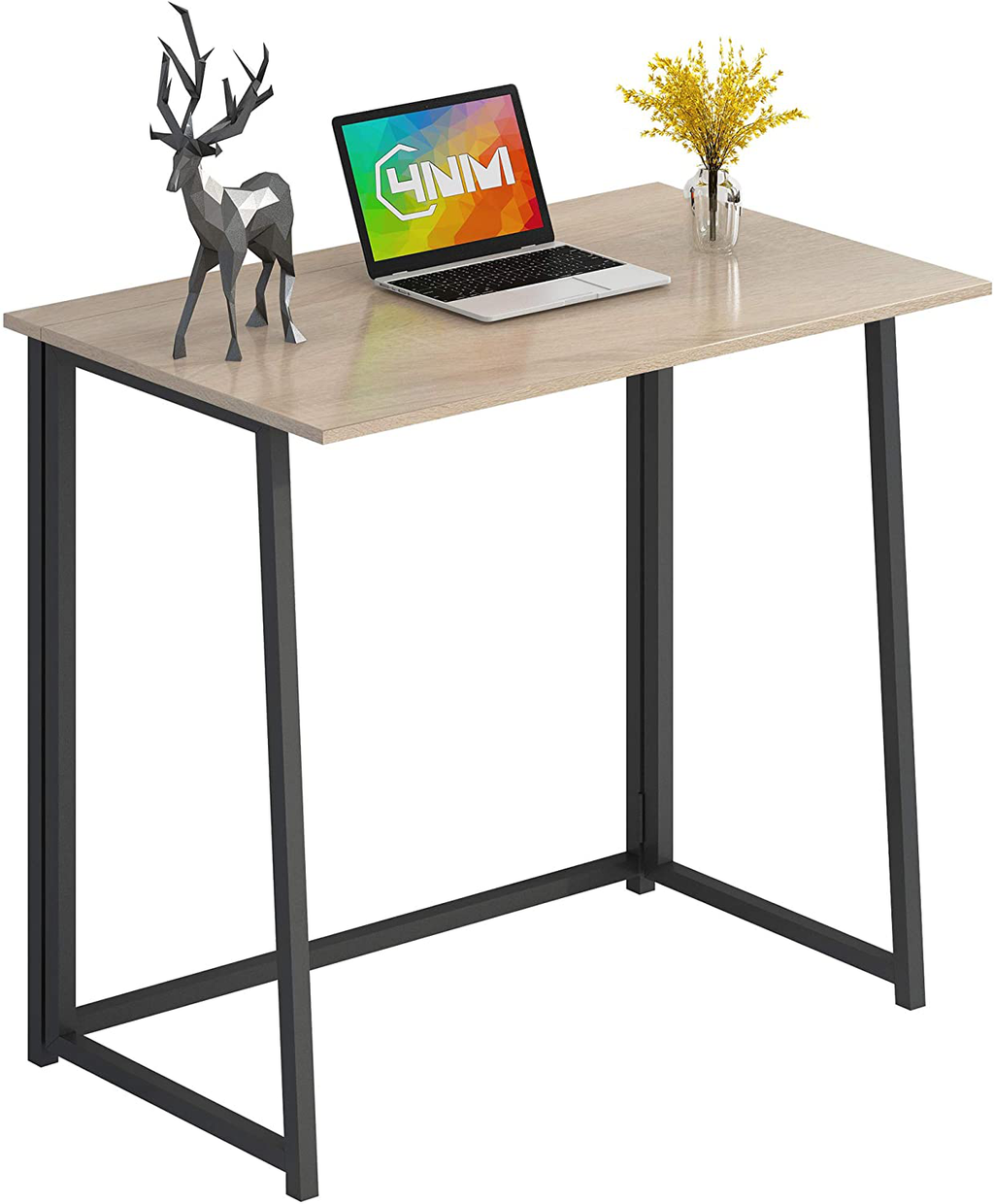 "4NM 31.5"" Small Desk Folding Computer Desk Home Office Desk Study Writing Table for Small Places - Natural and Black"