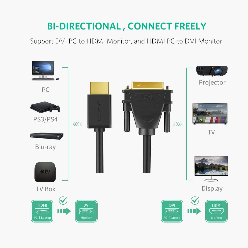 UGREEN HDMI to DVI Cable Bi Directional DVI-D 24+1 Male to HDMI Male High Speed Adapter Cable 1080P Full HD Compatible for Raspberry Pi, Roku, Xbox One, PS4 PS3, Graphics Card, Nintendo Switch, 3FT