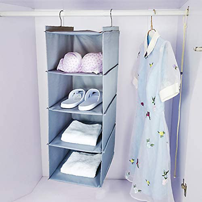 "IPNOW Closet Hanging Shelves, 2 Packs Shoe Organizers for Closet, Sturdy Hanging Closet Organizer for Shoes, Clothes, Handbag, Thickened Washable Oxford Fabric, 35.6""H 12.2""W11.8""D (2 Packs)"