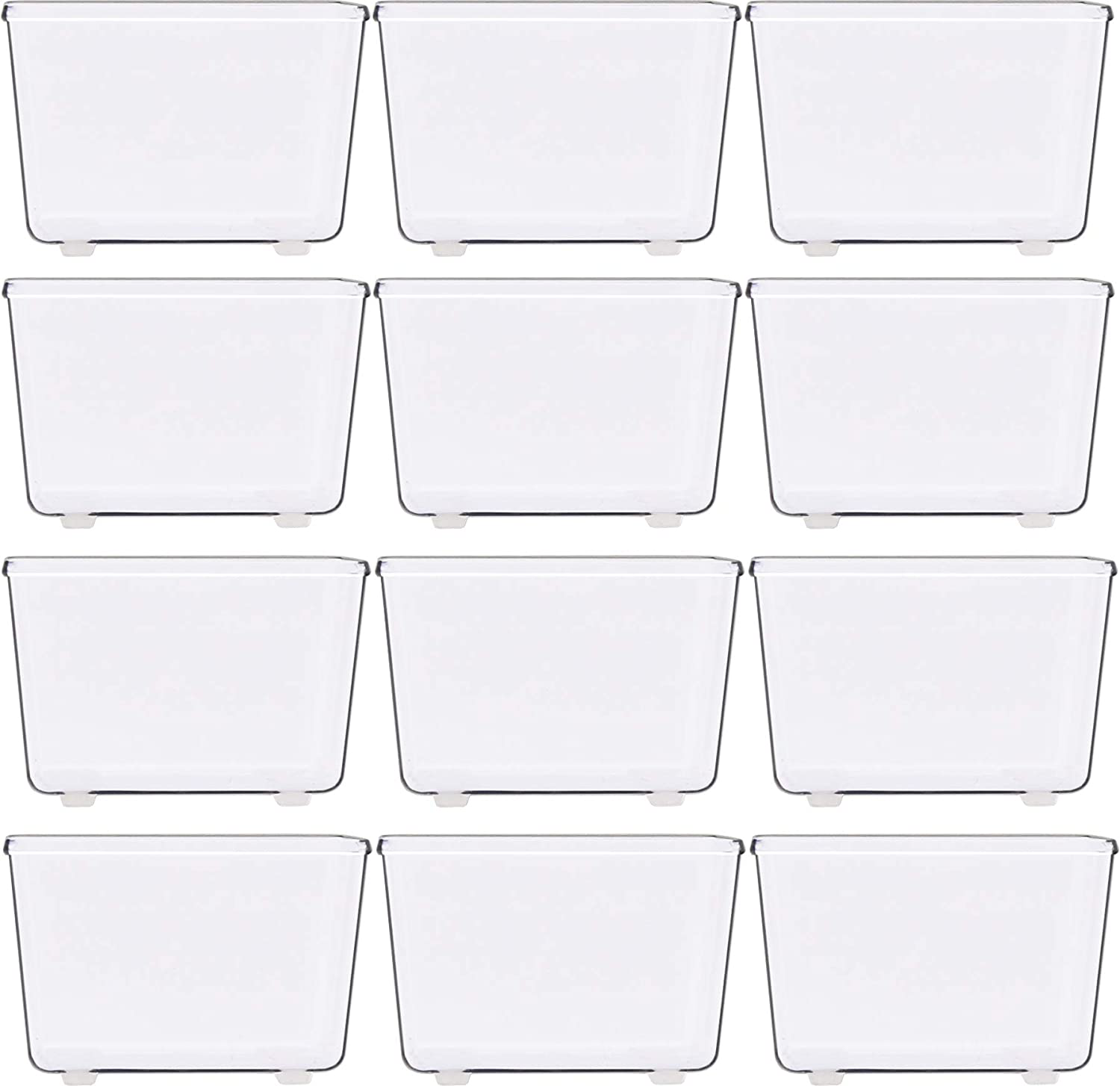 "12 Pack - Simple Houseware Clear Plastic Drawer Organizers, 3.25""x 3.25"""