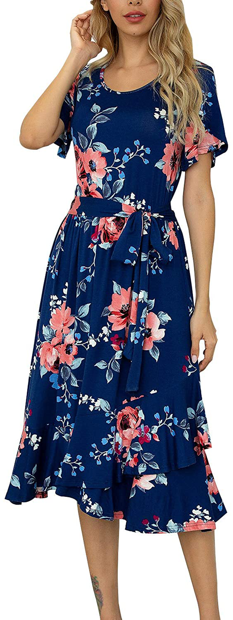 levaca Women's Plain Casual Flowy Short Sleeve Midi Dress with Belt