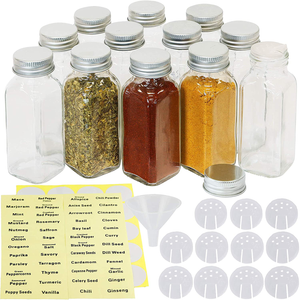Simple Houseware 12-Pack 6 Ounce Square Spice Bottles w/label