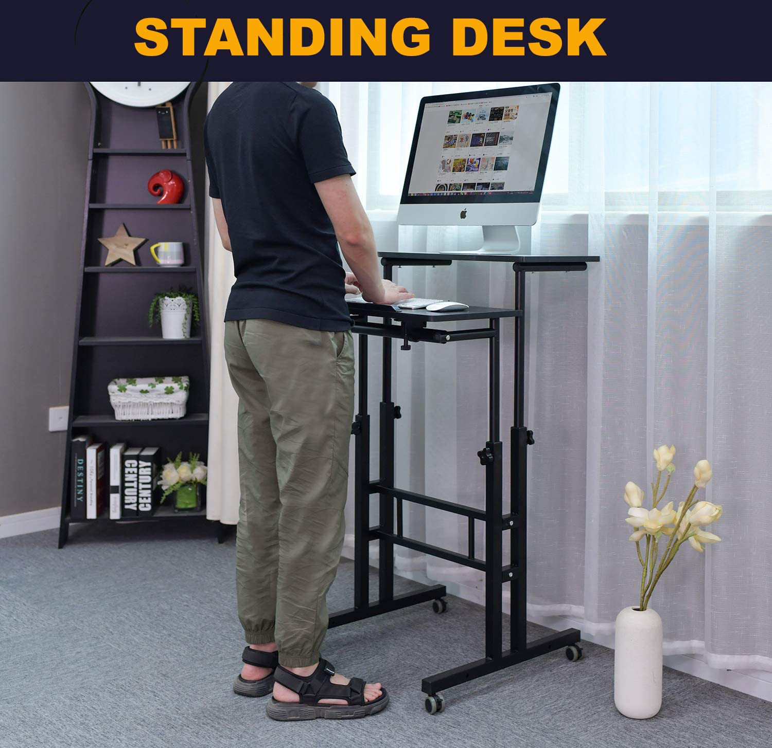 AIZ Mobile Standing Desk, Adjustable Computer Desk Rolling Laptop Cart on Wheels Home Office Computer Workstation, Portable Laptop Stand for Small Spaces Tall Table for Standing or Sitting, Black