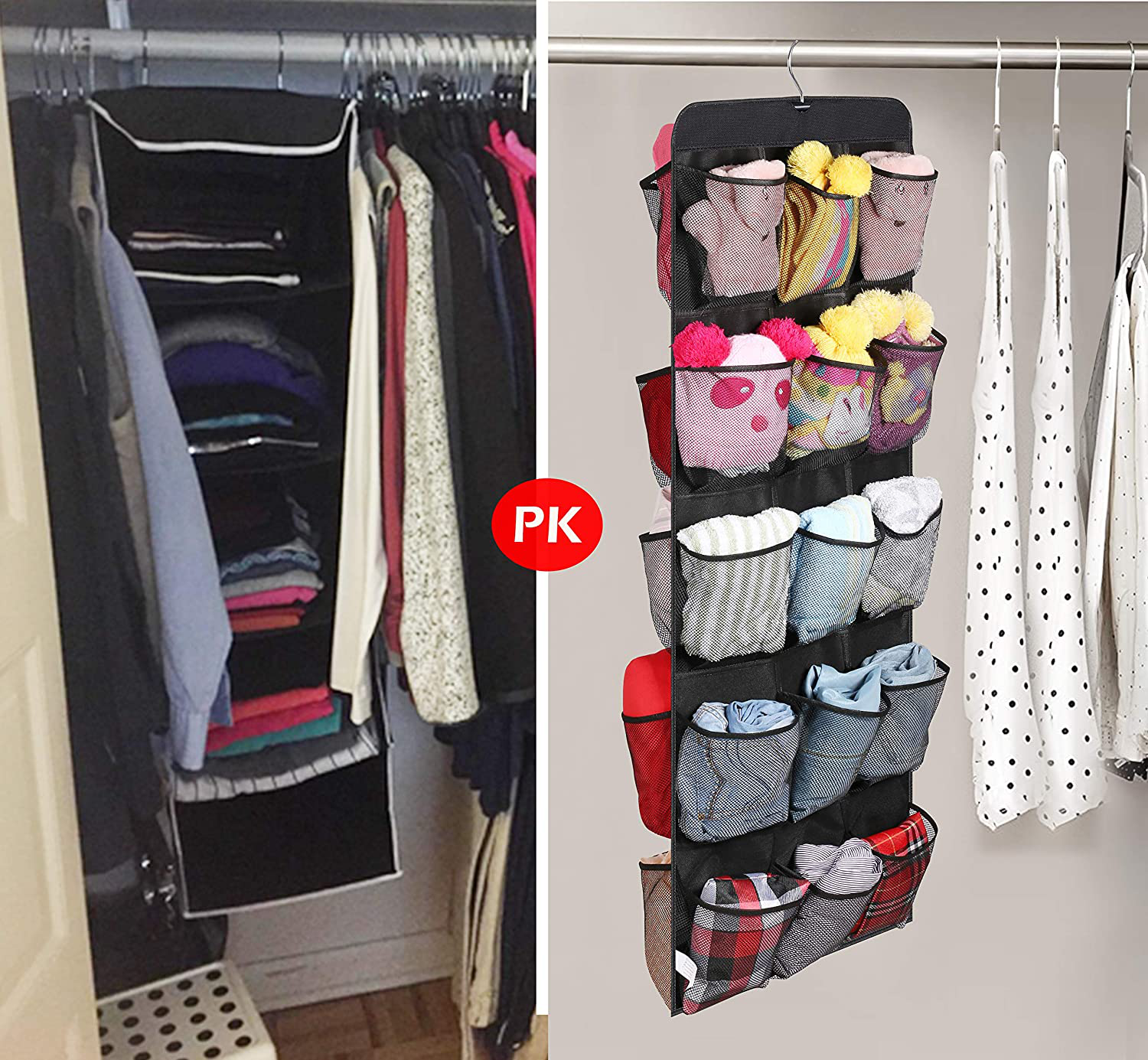 AOODA Hanging Shoe Rack for Closet Rod Double Sided 30 Large Pockets Hanging Shoe Organizer Holder With Rotating Hanger, Black