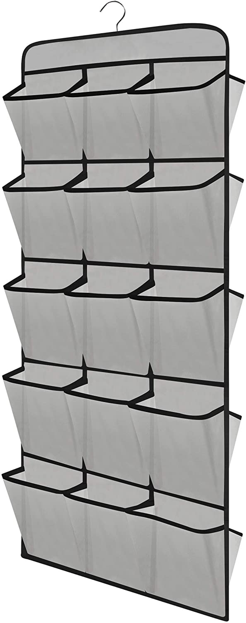 "coastal rose Hanging Shoe Organizer for Closet, Dual Sided 30 Large Pockets Hanging Shoe Storage Shelves with Rotating Hanger, 44.5"" L×17.9"" W (Grey)"