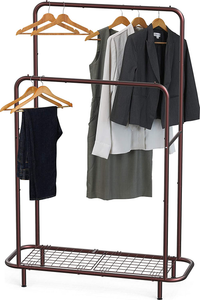 Simple Houseware Double Rod Clothing Garment Rack with Bottom Shelves, Bronze