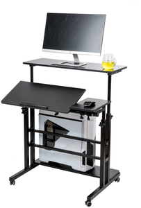 SIDUCAL Mobile Stand Up Desk, Adjustable Laptop Desk with Wheels Storage Desk Home Office Workstation, Rolling Table Laptop Cart for Standing or Sitting, Black