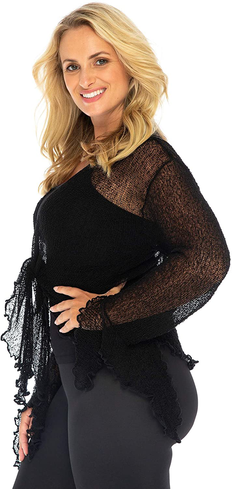 Back From Bali Womens Plus Size Sheer Shrug Bolero Long Sleeves Cropped Cardigan Bell Sleeves 2X 3X 4X Lightweight