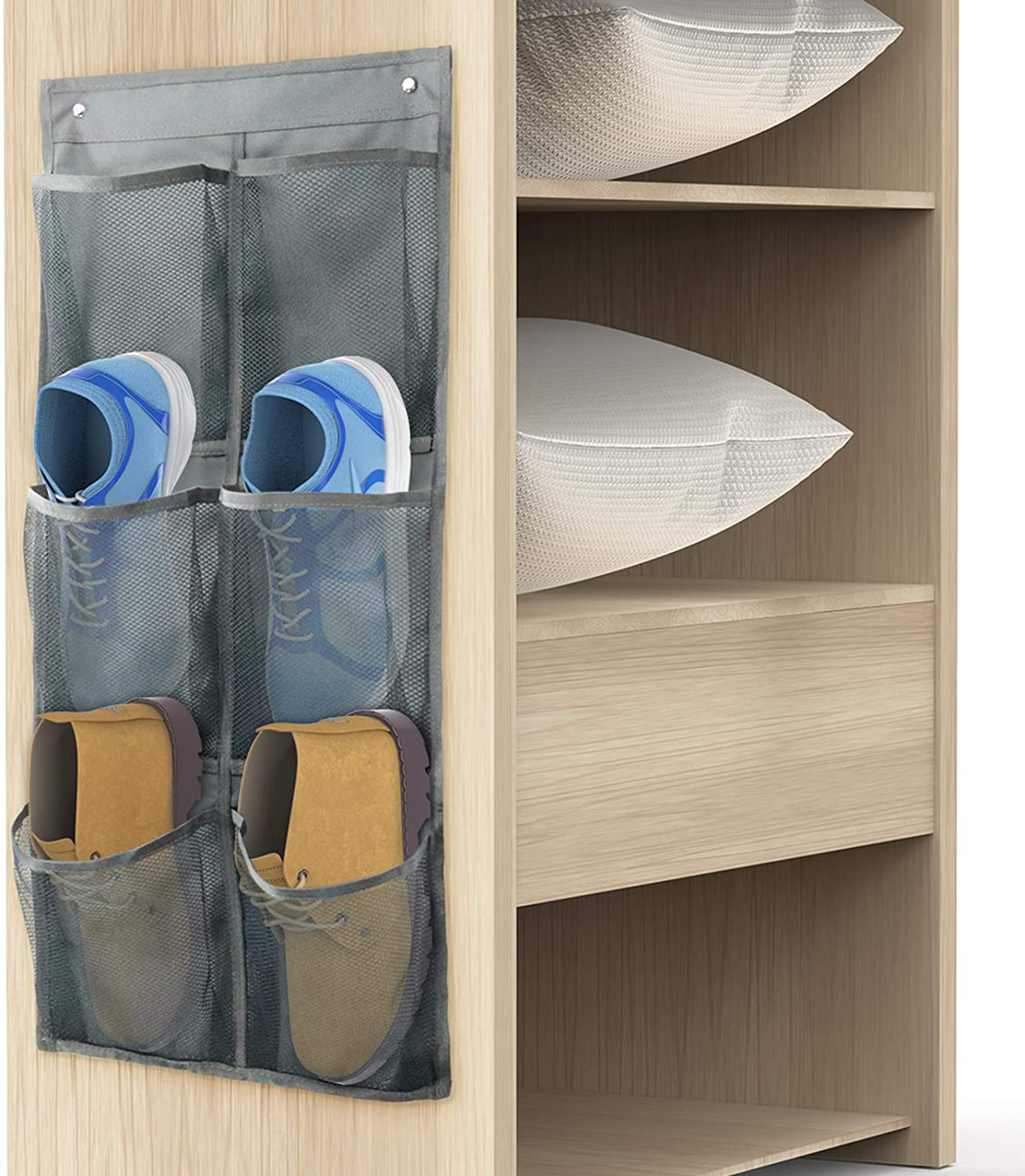Yocice Wall Mounted Shoes Rack 1Pack/Can Store 3Pairs of Sneakers,with Sticky Hanging Mounts, Shoes Holder Storage Organizer Shelf,Door Shoe Hangers (SM06-Gray-1)