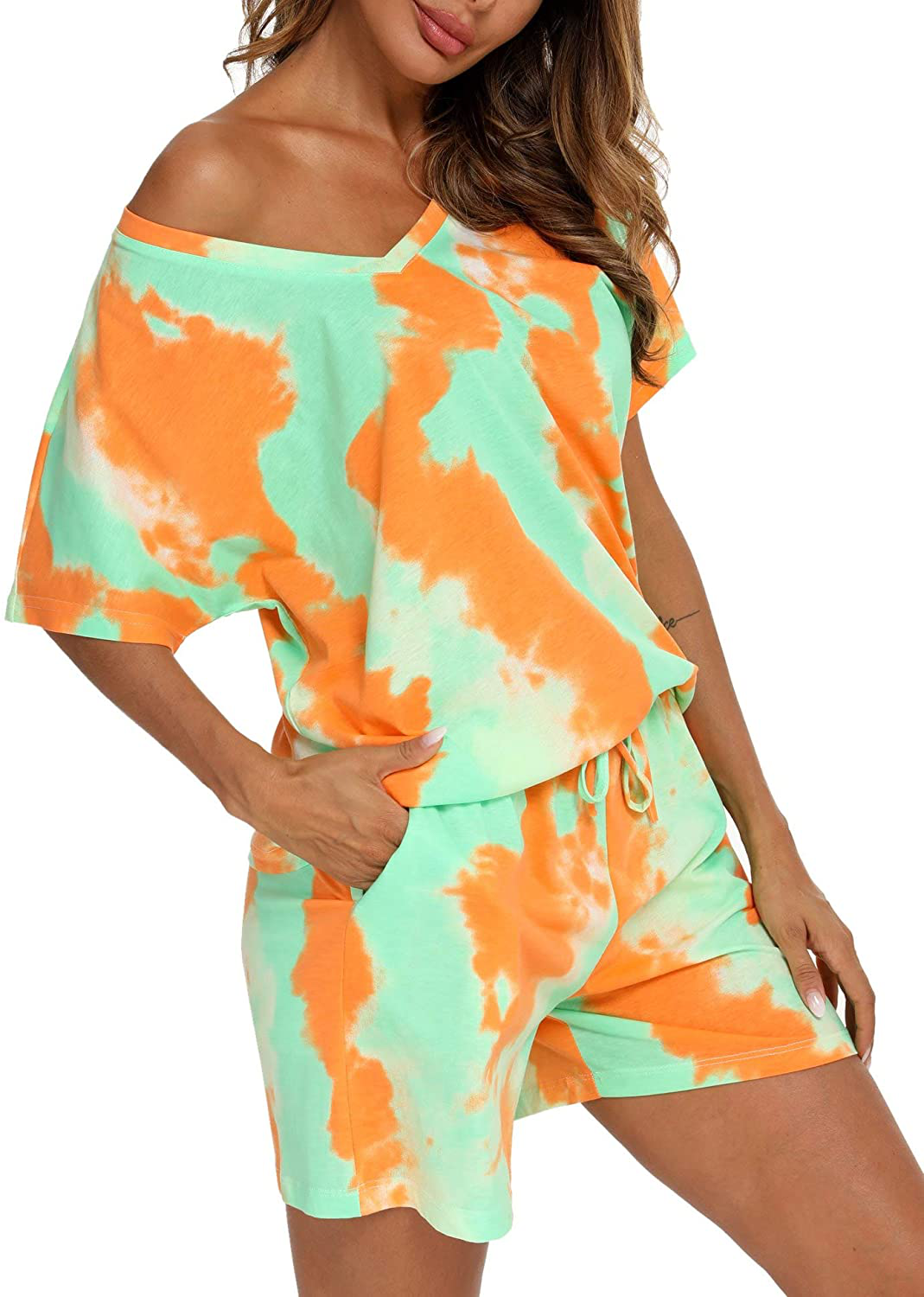 ENJOYNIGHT Women's Tie Dye Printed Pajama Sets Sleepwear Top with Shorts Lounge Sets with Pocket