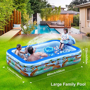 "Hamdol Inflatable Swimming Pool with Sprinkler, Kiddie Pool 99"" X 72"" X 22"" Family Full-Sized Inflatable Pool"