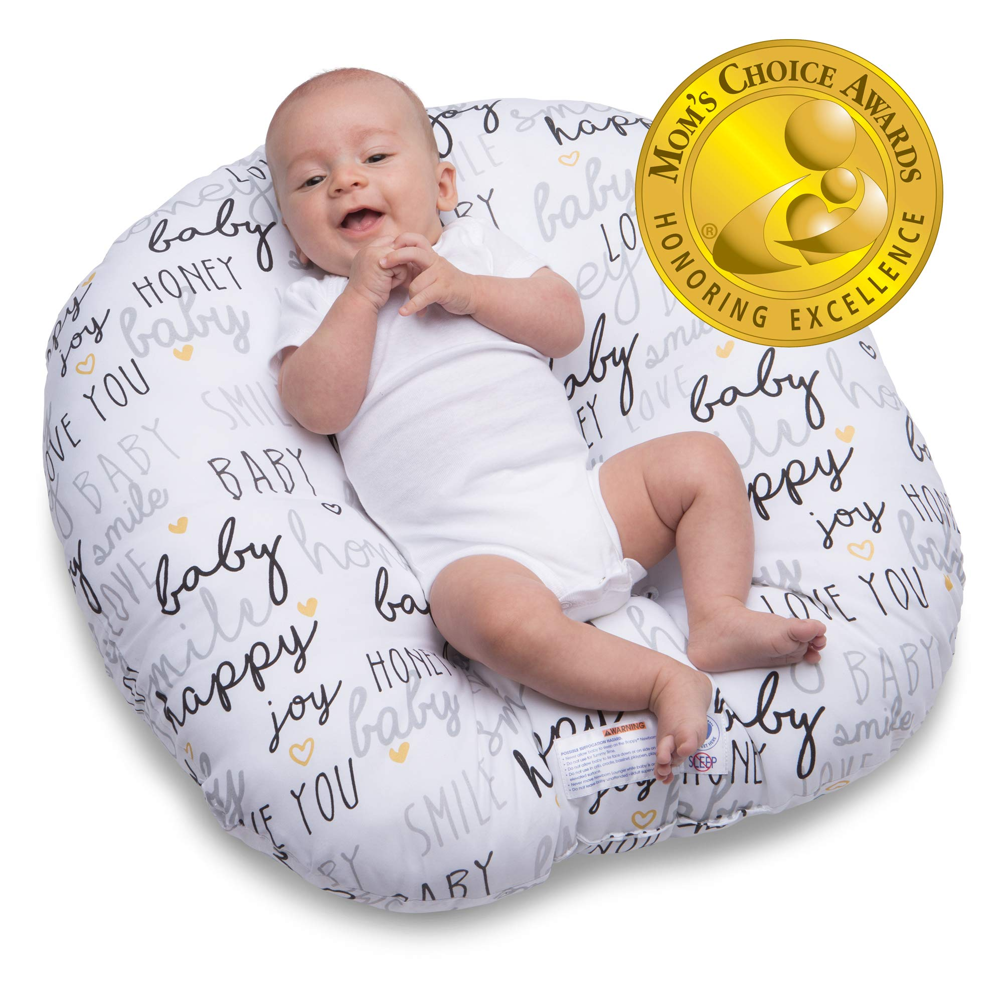 Boppy Original Newborn Lounger, Hello Baby Black and Gold