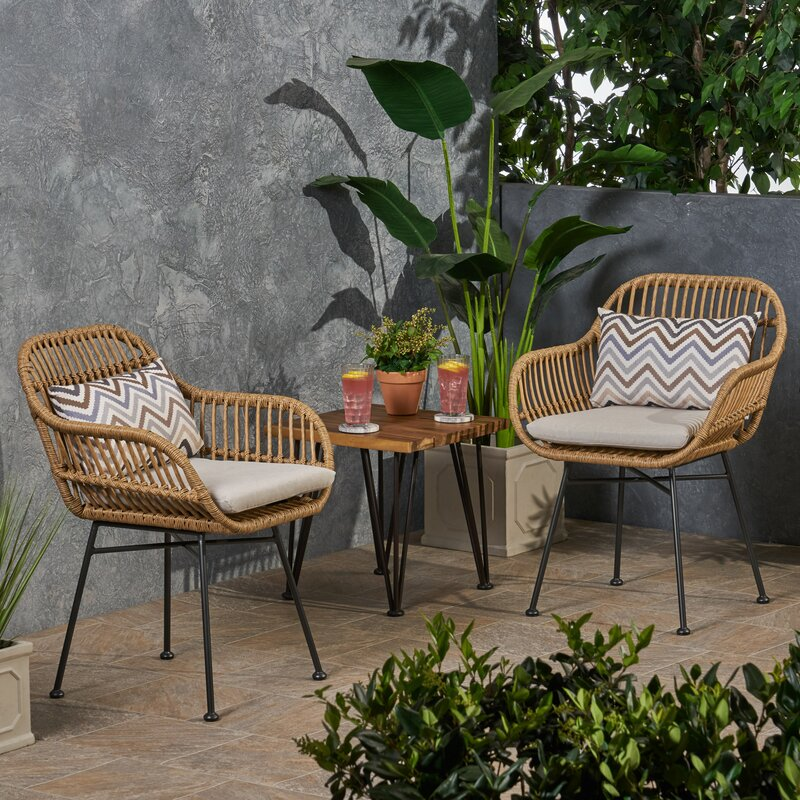 Enger Outdoor Woven Patio Chair with Cushion (Set of 2)