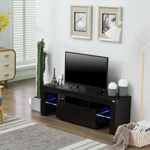 High Gloss TV Unit Cabinet Stand with LED Lights Shelves Home Furniture