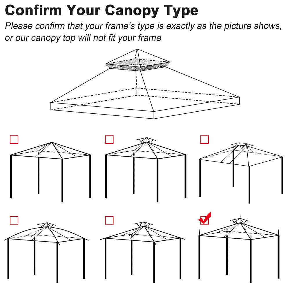 10x12 ft Gazebo Canopy Top Replacement 2 Tier Patio Garden UV-Resistant Cover