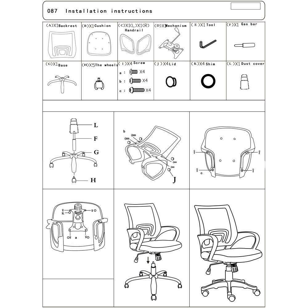 Ergonomic MidBack Mesh Office Chair Black Computer Home Desk