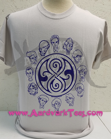 12 Doctors & the Seal of Rassilon - Fans of The Doctor Handprinted Tee v. 1 - T-shirts - Aardvark Tees