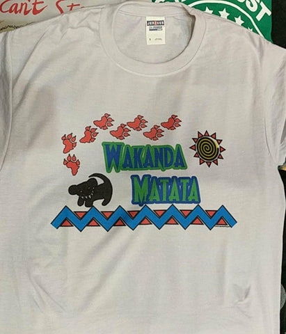 Wakanda Matata - Black Panther & Lion King Mashup Fan Tee - shirt - Aardvark Tees