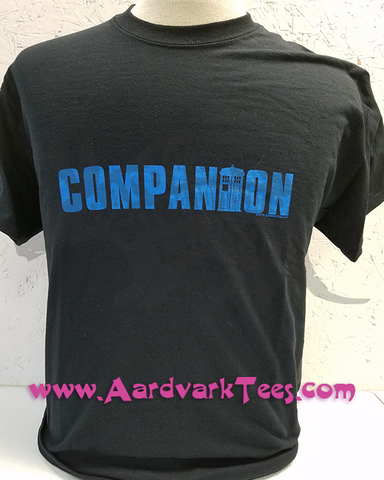 Companion - Whovian - Fans of The Doctor Handprinted Tee - Aardvark Tees - Tees that Please