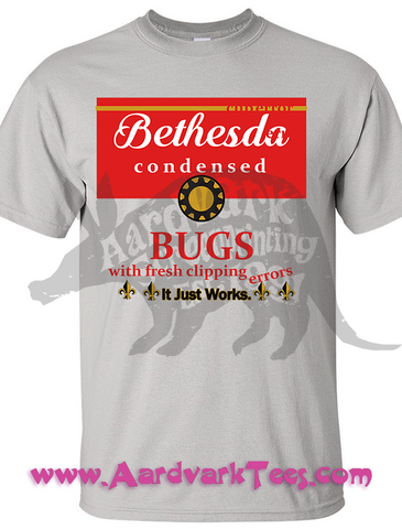 Full Of Bugs - It Just Works - Soup Can Parody - Handprinted Fallout Fan Tee - Aardvark Tees