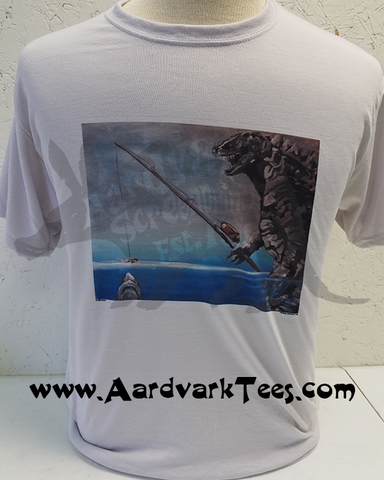 Godzilla Fishing for JAWS - Full Color! - Aardvark Tees - Tees that Please