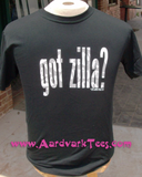 Got 'Zilla -  Hand-Printed T-Shirt, glow-in-the-dark Godzilla homage - Aardvark Tees - Tees that Please