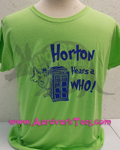 Horton Hears a Who parody Dr. Seuss, Dr. Who hand printed t-shirt - T-shirts - Aardvark Tees