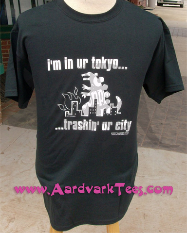 "Godzilla - ""I'm in ur Tokyo, trashin' ur city""  hand-printed cotton Kaiju shirt  . - Aardvark Tees - Tees that Please"