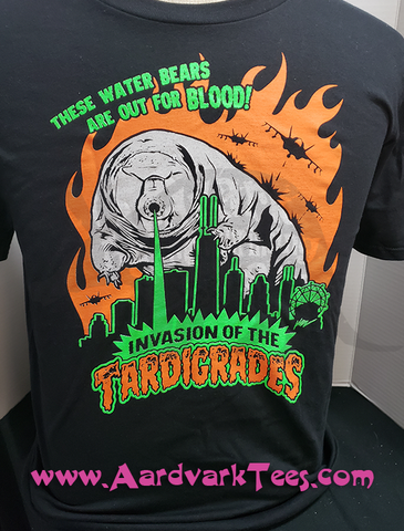 Invasion of the Tardigrades T-Shirt - Microbiologist gift - Water Bear - Classic Monster Movie Poster Style Lasers Pew Pews - Aardvark Tees - Tees that Please