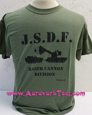 JSDF Maser Cannon Division hand-printed t-shirt -- Godzilla, Kaiju, Monster Movie