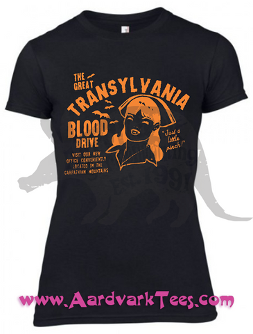 Just A Little Pinch!  Transylvania Blood Drive Kitschy Vempire Nurse Tee - T-shirts - Aardvark Tees
