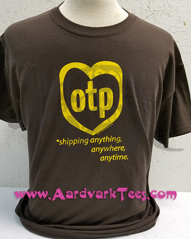 OTP Parody Logo Shirt - Shipping Anything, Anytime, Anywhere. Hand-Printed