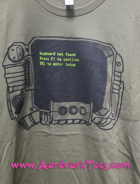 Pipboy Keyboard Error - Handprinted Fallout Fan Tee - T-shirts - Aardvark Tees