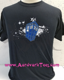 Whovian Space Police Box - Fans of the Doctor - Hand Printed T-Shirt - Aardvark Tees - Tees that Please