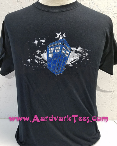 Whovian Space Police Box - Fans of the Doctor - Hand Printed T-Shirt - Aardvark Tees