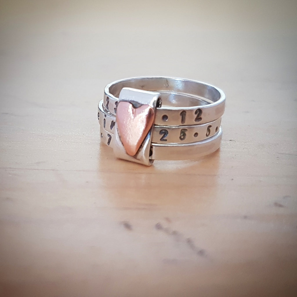 Free personalised silver stacking ring