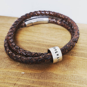 personalized leather bracelet with silver name rings