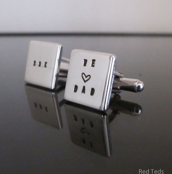 Sterling silver name cuff links - Red Ted's Jewellery