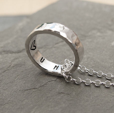 Hammered Personalised Ring Pendant - Red Ted's Jewellery