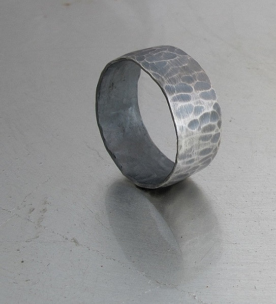 Textured sterling silver 8mm ring - Red Ted's Jewellery