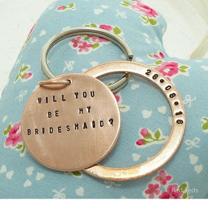 Copper disc and washer personalised key ring gift - Red Ted's Jewellery