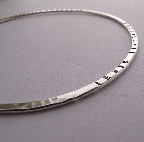 Sterling silver stacking hammered name bangle - Red Ted's Jewellery