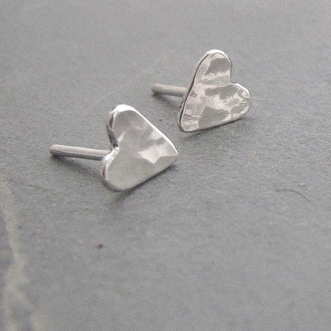 Hammered sterling silver heart stud earrings - Red Ted's Jewellery