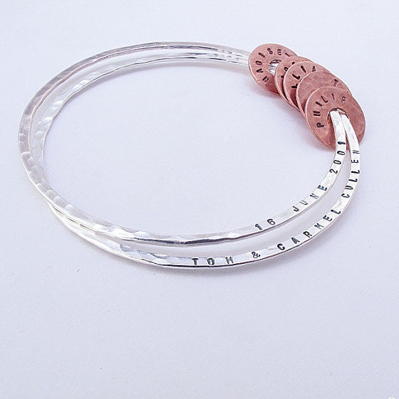 Sterling silver double name bangle with copper links - Red Ted's Jewellery