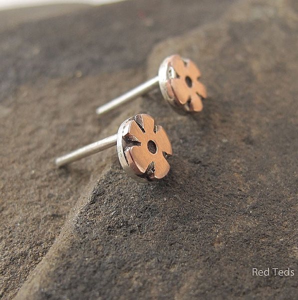 Copper daisy flower earrings - Red Ted's Jewellery
