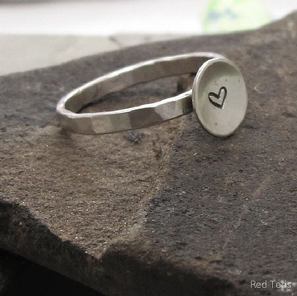 Hammered sterling silver stacking ring heart impression - Red Ted's Jewellery