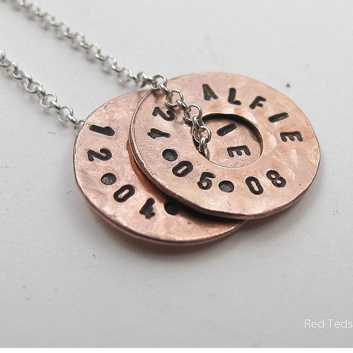 Copper disc name pendant - Red Ted's Jewellery