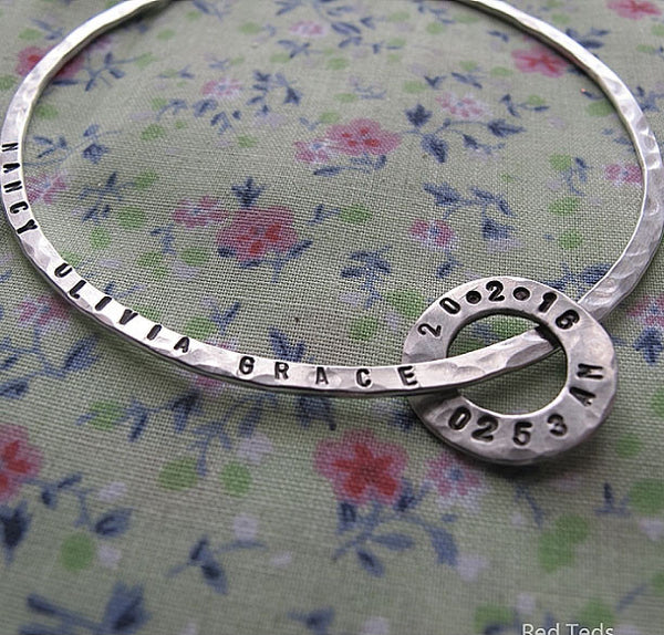 Stacking sterling silver name bangle with personalised ring - Red Ted's Jewellery